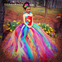 Fancy Kids Tutu Dress For Girl Rainbow Flowers Birthday Wedding Party Dresses Girls Clothes Christmas Dress Vestidos W055