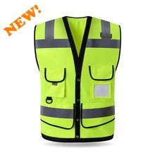 سباردوير عالية سترة أمان عاكسة للرؤية صدرية رجالي مع متعدد جيوب طباعة الشاشة الحريرية شعار شحن مجاني