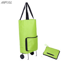 ASFULL Oxford Folding Shopping Cart Bag With Wheels Trolley Bags Travel Storage Package For Handbag Organizer