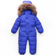 -25 degree winter baby snowsuit white duck-down padded natural raccoon fur hooded toddler boys girls outerwear down jacket