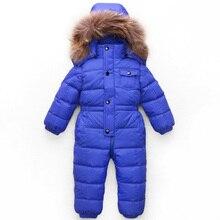 -25 градусов зимой ребенка детский зимний комбинезон белая утка вниз мягкий натуральный мех енота с капюшоном малышей мальчики девочки верхняя одежда вниз куртка