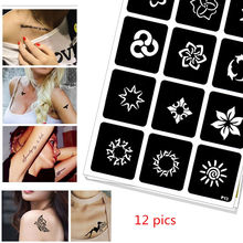 12 pics Henna Party Tattoo Stencils DIY Jagua Drawing Templates Airbrush Painting Mehndi Body Art Small Flash Tatto Stencil C30 pics