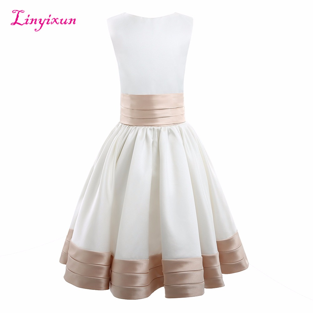Linyixun Real Photo New Arrival   Flower     Girl     Dresses   2017 Sleeveless Sashes Communion   Dresses   Long Cheap Kids Prom Gowns