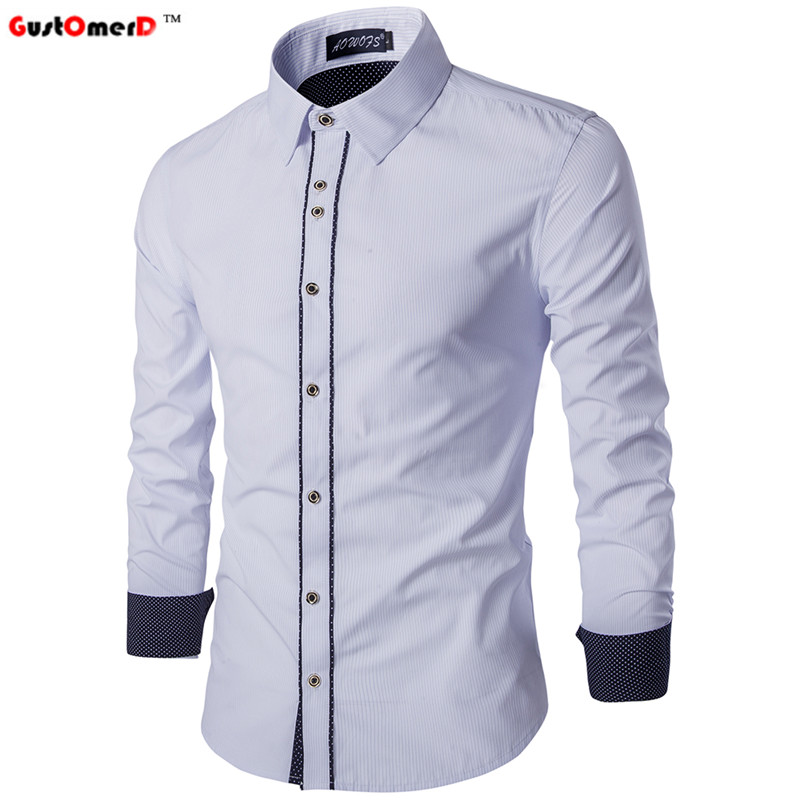 GustOmerD Patchwork Striped New Fashion Brand Casual Men Shirt Long Sleeve Slim Fit High Quality Social