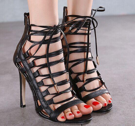 Size 49 Lace Up Black High Heels Women Pumps Zipper Nude -8010