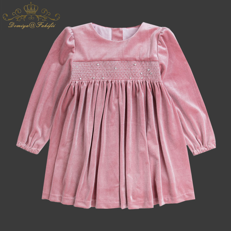 Spring 2018 Baby Girl Party Dress Long Sleeve 2 Year Toddler Baby Girl Birthday Party Christmas Elegant Pink Velvet Dress Tutu christmas faux fur fitted velvet short party dress with hat