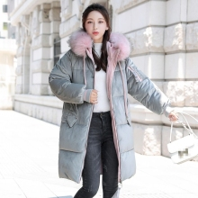 2019 Velvet Down Parka Big Fur Collar Winter Thick Warm Long Velvet Parka Coats Plus Size Jacket Long Loose Coats Outwear New new 2016 children boys winter long down coat hooded fur puffer jacket kids thick warm coats windproof parka snowday outwear