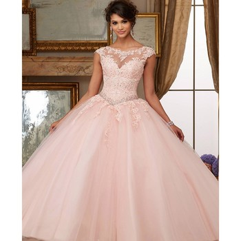 882fcab65 De color rosa barato vestidos de quinceañera 2019 vestido de mangas de  encaje de tul con cuentas cristales dulce 16 vestidos