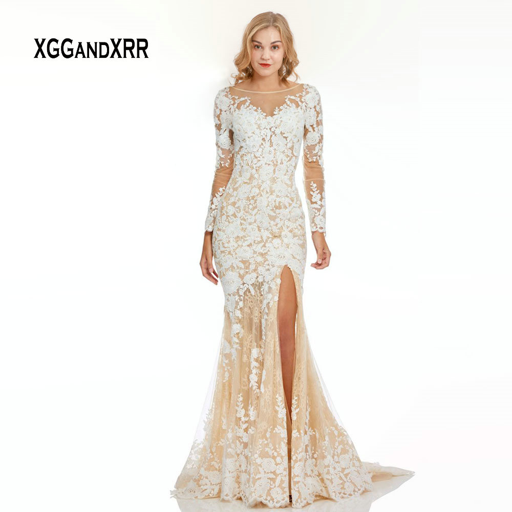 Elegant Long Sleeves Mermaid   Prom     Dresses   2019 White Lace Applique Champagne Long Evening   Dress   Backless Formal Lady Party Gown