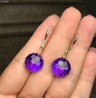 shilovem 18k yellow gold piezoelectric amethyst Stud Earrings fine Jewelry women trendy party classic new 12*12mm myme1212z