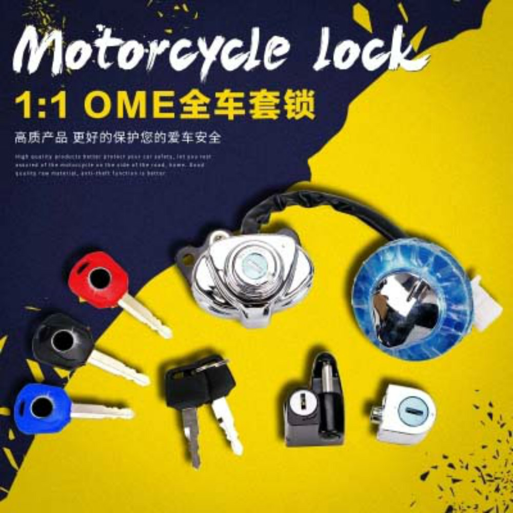 1 Set Motorcycle Fuel Gas Cap Key Full Set Ignition Switch Lock For Honda Steed400 Steed600 VLX400 CA250