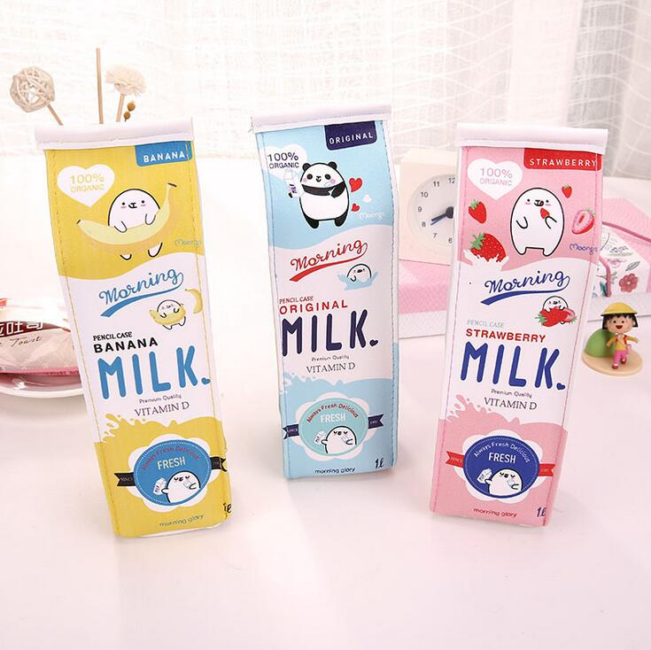 Cartoon Morning Milk PU Leather Pencil Case Stationery Storage Organizer Pencil Bag School Office Supply Escolar цена 2017