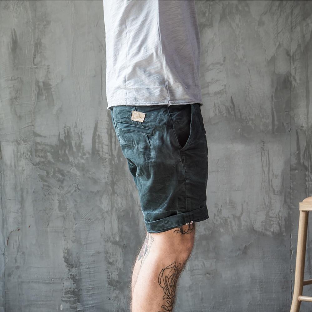 2017 NEW Stonewash Process Vintage Short jeans Retro Casual Mid waist Crimping Mens denim shorts Deep green
