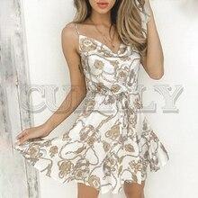 CUERLY Sexy chain print women short dress Lace up spaghetti strap white vestidos Fashion ladies summer holiday dresses 2019