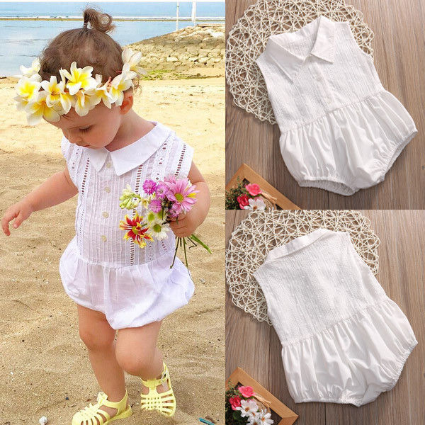 Summer Kids Baby Girls Lace Romper Jumpsuit Sleeveless Cotton One-Pieces Outfits Sunsuit Children Girls Clothes  2017 newborn baby rompers girls summer clothes sweet baby girls kids sleeveless romper kids girls blue jumpsuit clothes outfits