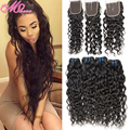 Top Quality Brazilian Water Wave Lace Closure With 4 Bundles Annabelle Hair With Closure 6a Unprocessed Human Hair With Closures