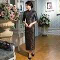 Nueva Llegada Cordón de La Manera de Largo Cheongsam Qipao Chino Vestido de Las Mujeres Elegantes Vestidos Tamaño Sml XL XXL XXXL 27643A