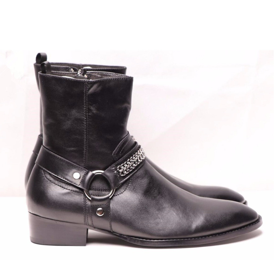 Handmade Luxury Wyatt Cow Leather Ankle Strap Slim Charming Men Boots High Heel Wedge Boots