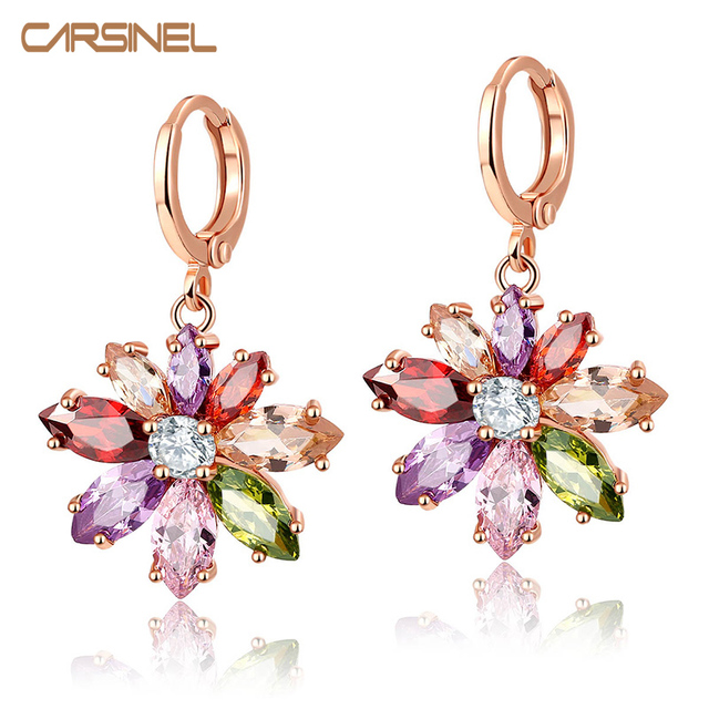 CARSINEL Colorful Flower Shape CZ Hoop Earrings Rose Gold color
