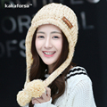 New Winter Women Cute Pompom Warm Beanies High Quality Thickened Soft Solid Acrylic Hats Fashion Knitted Ear Protection Hat Cap
