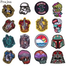 Prajna Goth Buddha Harry Potter Iron On Patches Stickers Free Biker Riverdale Patches Star Wars Embroidered Patches For Clothes(China)