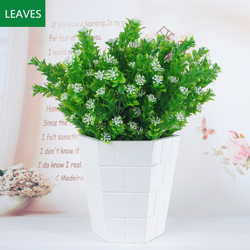 2 Bouquets Artificial Plastic Milan Grass Small Leaves Plant Green Home Garden Party Decoration Ornament