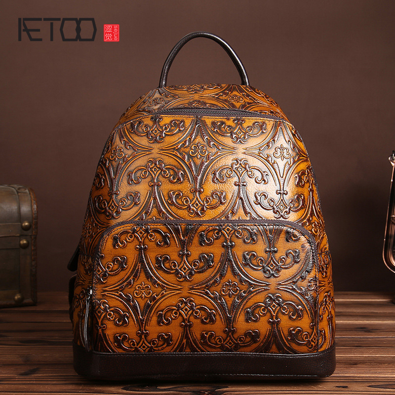 AETOO New retro casual shoulder bag men and women casual backpack first layer cowhide travel bag hand rubbing backpack new genuine leather women oil nubuck retro women backpack casual backpack casual shoulder bag bucket bag a4625