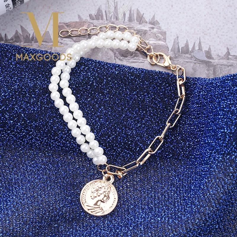 Fashion Gold Color Round Coin Pendant Bracelets for Women Girls Simple Bracelets Pearl Bangles Gifts|Charm Bracelets|   - AliExpress