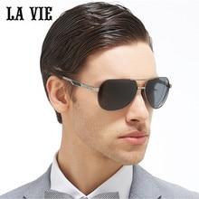 LA VIE Polarized New Design Pilot Aviator Men Sunglasses Multi Color Lenses Alloy Frame Male Sun Glasses Gift Oculos LVA314