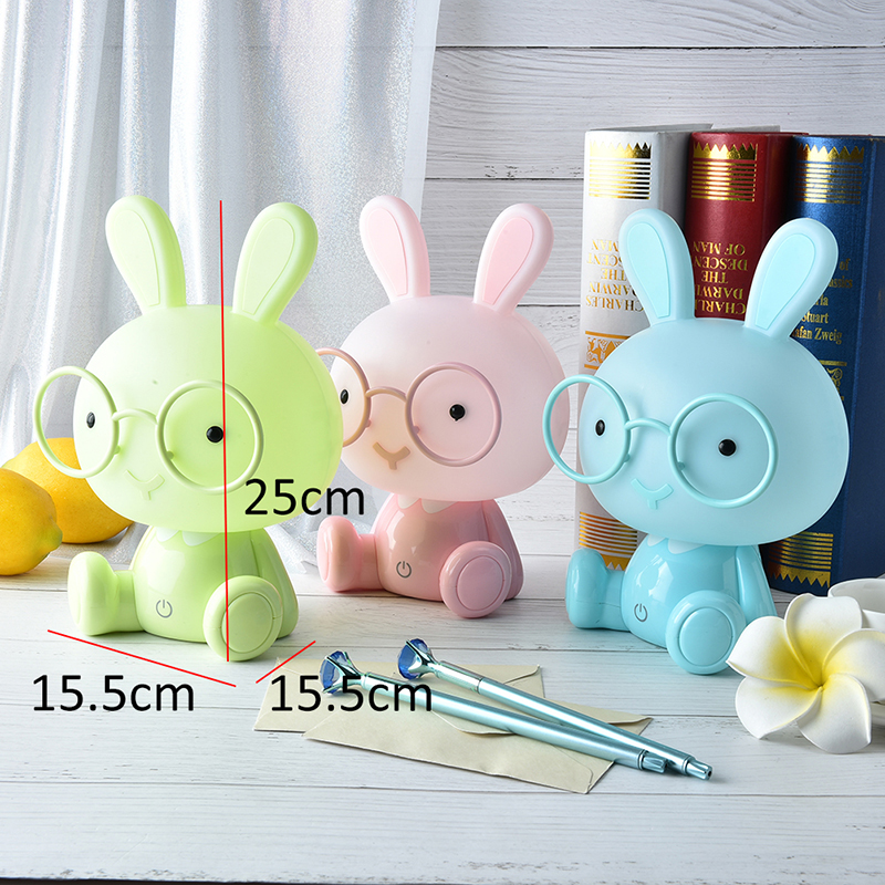 Cute Baby Study Bedroom Lamp Rabbit Night Light Led Night Lamp Christmas Gift Bedside Decor Kids Glasses Rabbits Lights 0-5W