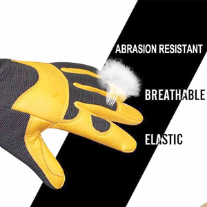 Image 3 - OZERO Mens Work Gloves Deerskin Leather Driver Security Protection Wear Safety Workers Working Racing Moto Gloves For Men 8003