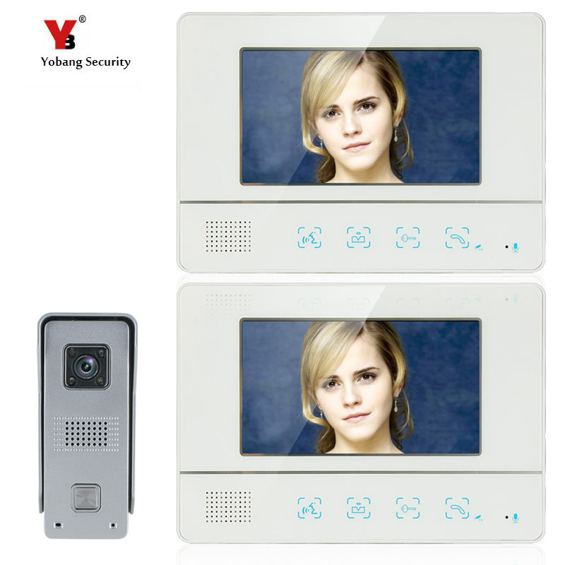 Yobang Security video intercom door bell system 7 inch color screen video with IR camera Wired intercom for private house video door phone intercom video door bell 7 inch color doorphone kit ir system outdoor metal panel with pin hole camera