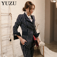 Women Woolen Suits Office Uniform Ladies 2 Piece Set Black And White Stripe Suit Womens Blazer