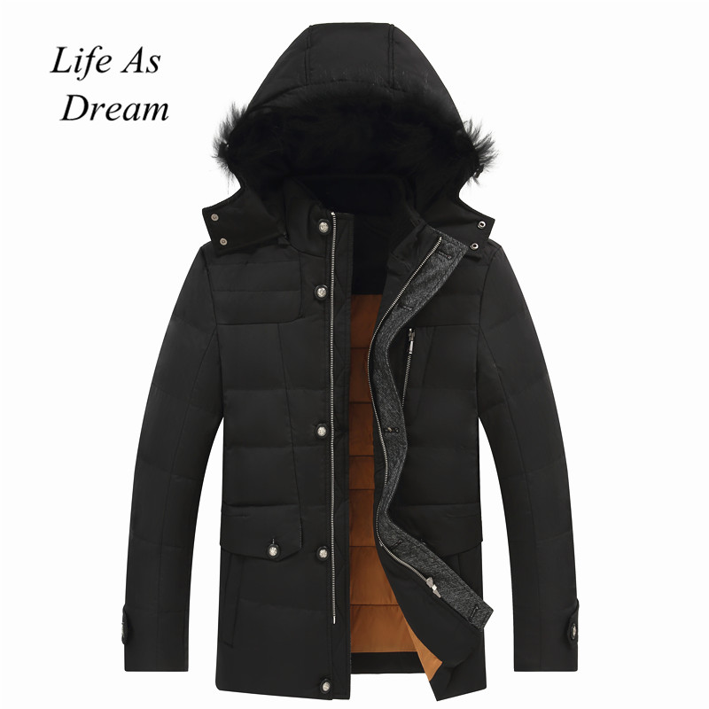High quality 2018 Thick Warm Winter Jacket Men Windproof Long Hooded Parka with Fur Collar Plus