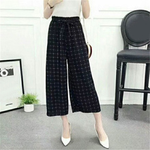 2019 Fashion Droppshiping Womens Wide Leg High Waist Casual Summer Thin Pants Loose Culottes Trousers BFJ55