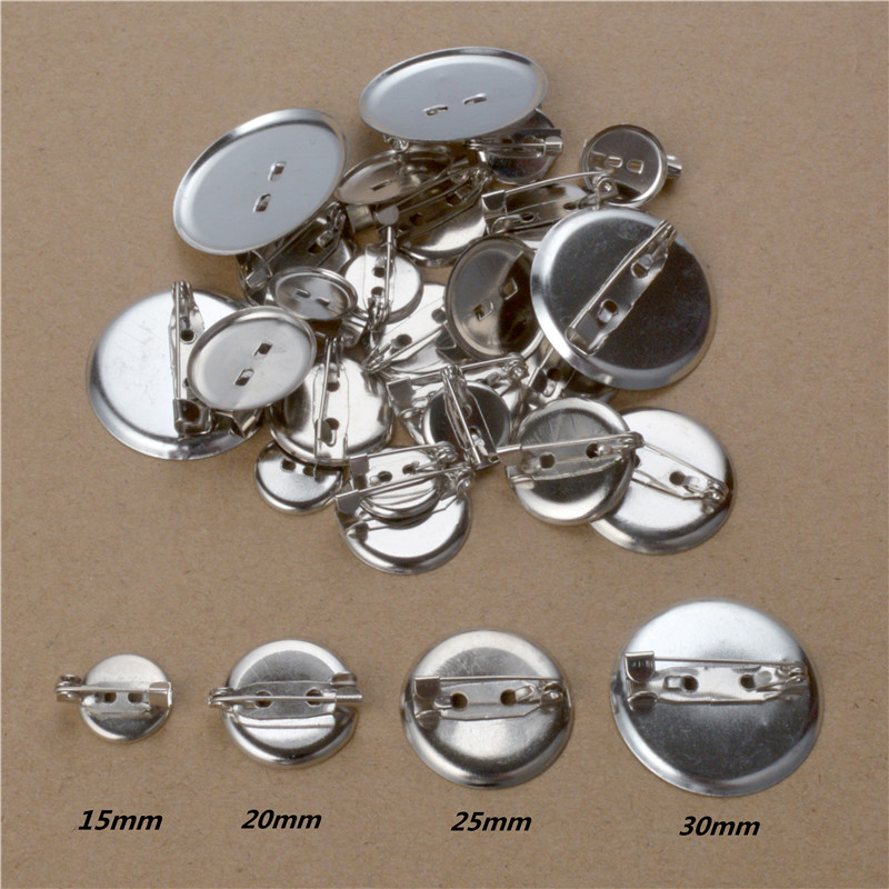 50pcs Rhodium Color 13 15 20 <font><b>25</b></font> <font><b>30</b></font> 35mm Round Brooch Base Cabochon Blanks Trays with Brooch Pins Cameo Cabochon Base Setting image