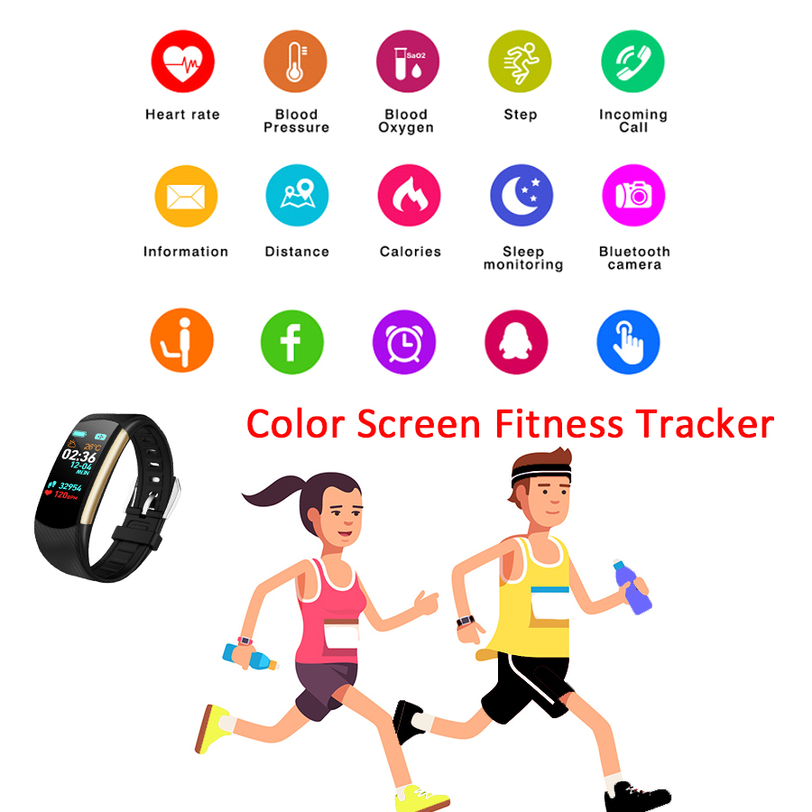 Image 5 - HORUG Smart Wristband Fitness Bracelet Fitness Tracker Smart Bracelet Activity Blood Pressure Pedometer Sport Heart Rate Monitor-in Smart Wristbands from Consumer Electronics