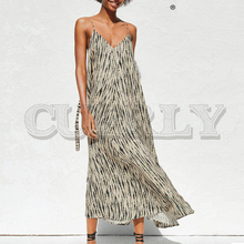 CUERLY Holiday print midi A line long dress women V neck spaghetti strap lace up dresses Summer loose boho ladies vestidos 2019