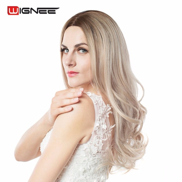 Wignee Long 2 Tone Ombre Brown Ash Blonde Temperature Synthetic Wigs For Black/White Women Glueless Wavy Daily/Cosplay Hair Wig 3