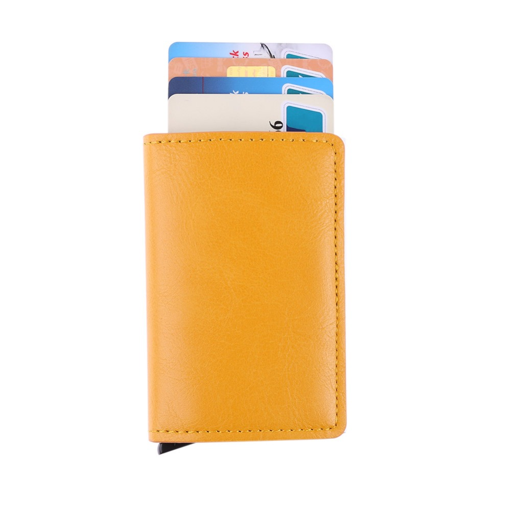 Metal titular de la tarjeta RFID aleación de aluminio titular de la tarjeta de crédito PU cuero cartera Antitheft hombres automático Pop Up tarjeta caso