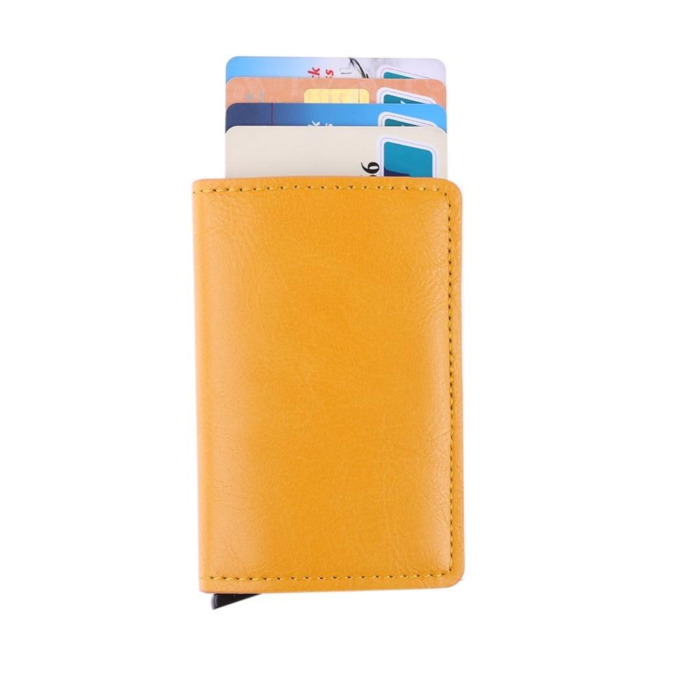 Masculino Titular Do Cartão de RFID de Metal Liga de Alumínio Titular do Cartão de Crédito PU Carteira de Couro Dos Homens Pop Up Automático RFID Antifurto Carteira 2018