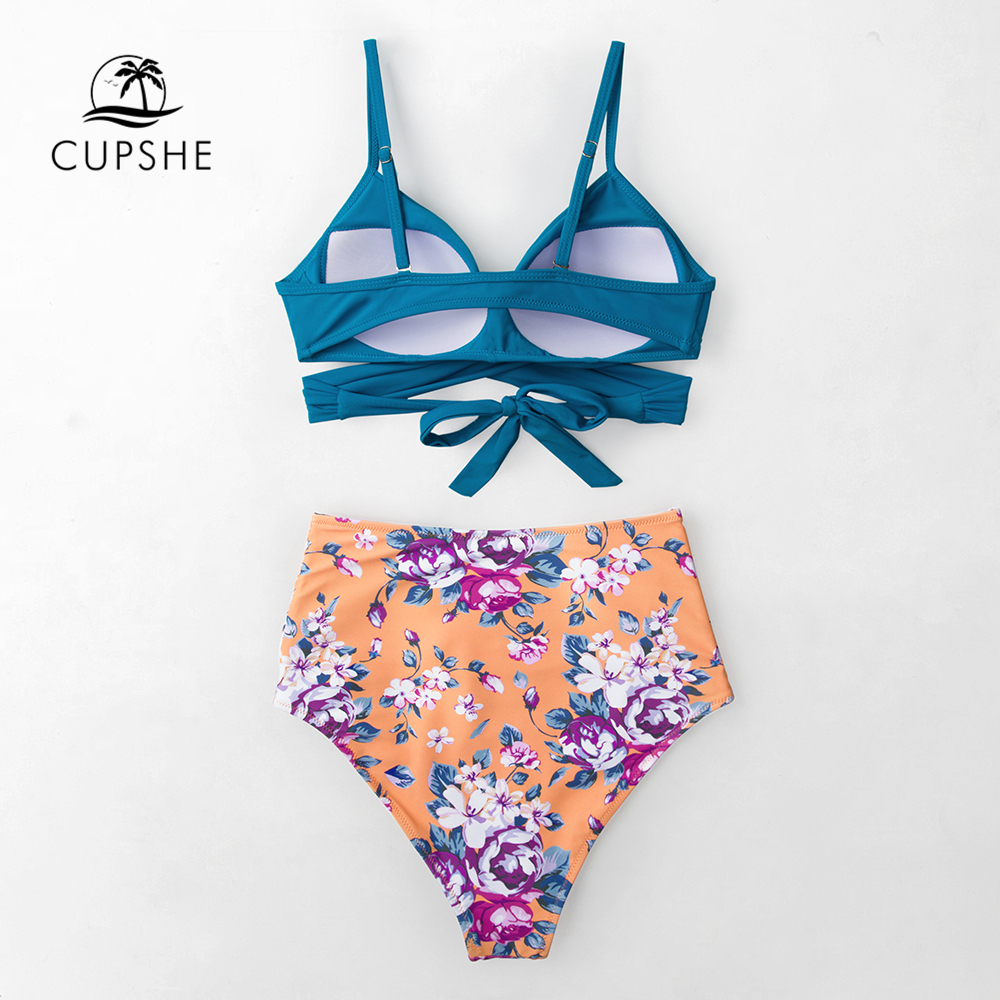 CUPSHE Blue Wrap And Floral High-waisted Bikini Sets Women Sexy Push Up Two Pieces Swimsuits 2020 Girl Beach Bathing Suits 1