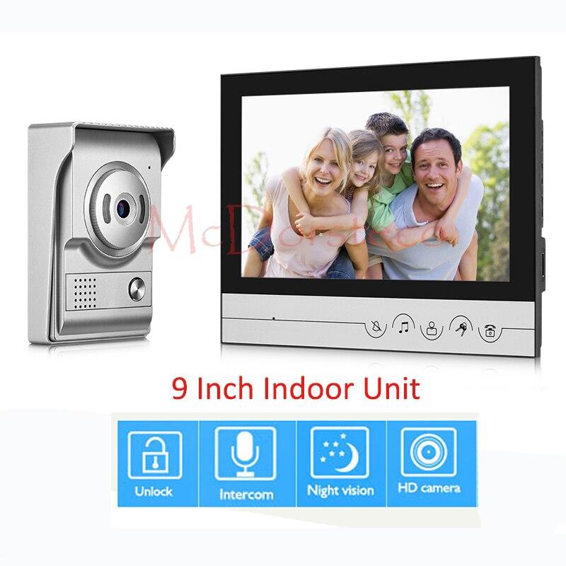 9 дюймов Видео Домофонные дверной звонок Главная внутренней безопасности Системы ИК Ночное видение Камера домофон Белл Системы