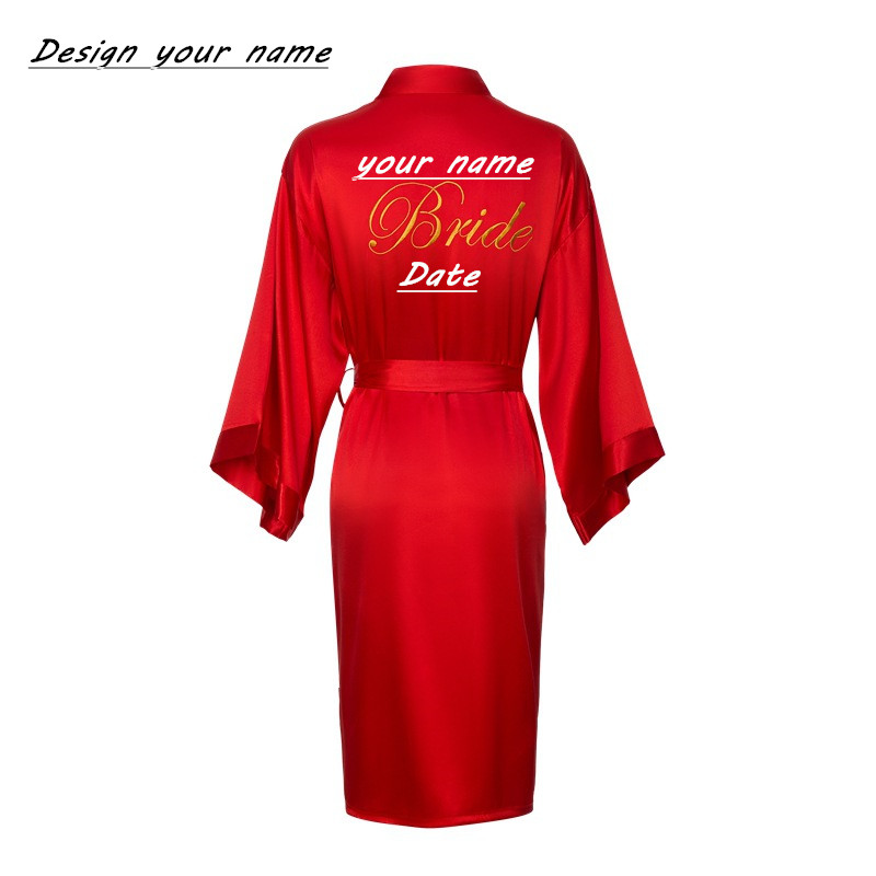JRMISSLI Personalized Bride Robe Team Women Custom Wedding Bathrobe Female Satin Silk Bridesmaid Robes For Women Bridal Robes