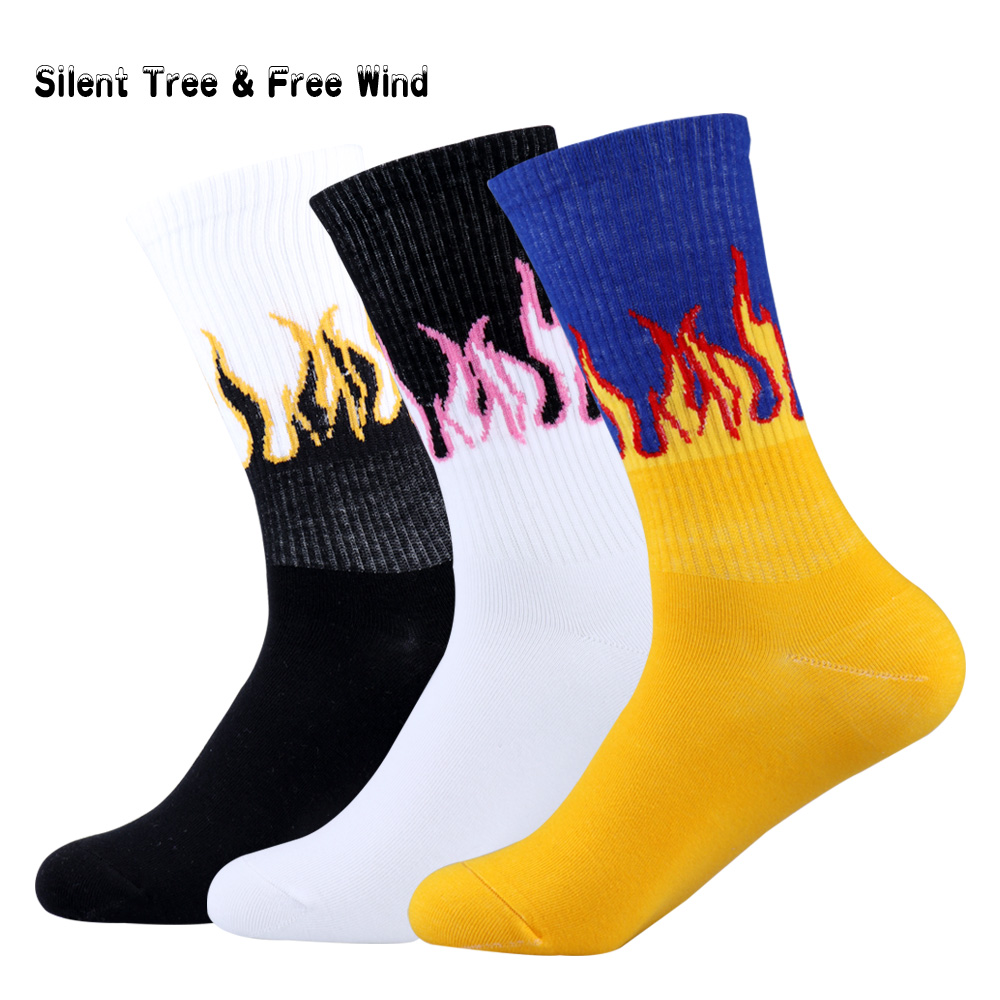 10 pairs/lot Hip Hop Men Flames Crew Socks New Fashion Colorful Fire Youth Teen Socks Skateboard Cool Firewood Wholesale Sox