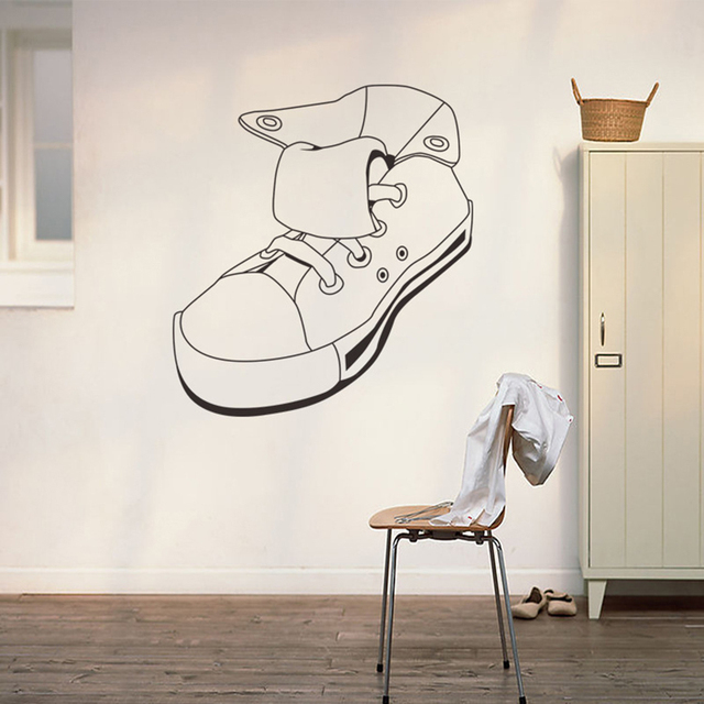 Sport Shoes Canvas Shoe Simple Black Wall Sticker Kid Baby Room Home Decor  Bathroom Window Shop