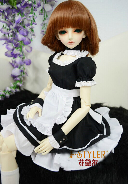 BJD doll clothes SD MSD YOSD Doll clothes Maid uniform dress Free shipping цена