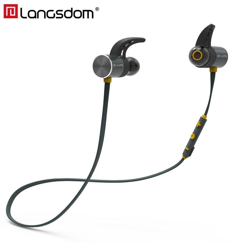 Langsdom Cuffia Senza Fili Bluetooth IPX5 Auricolari Impermeabili Magnetico Bass Auricolare Auricolari Con Microfono Per Il Telefono di Sport