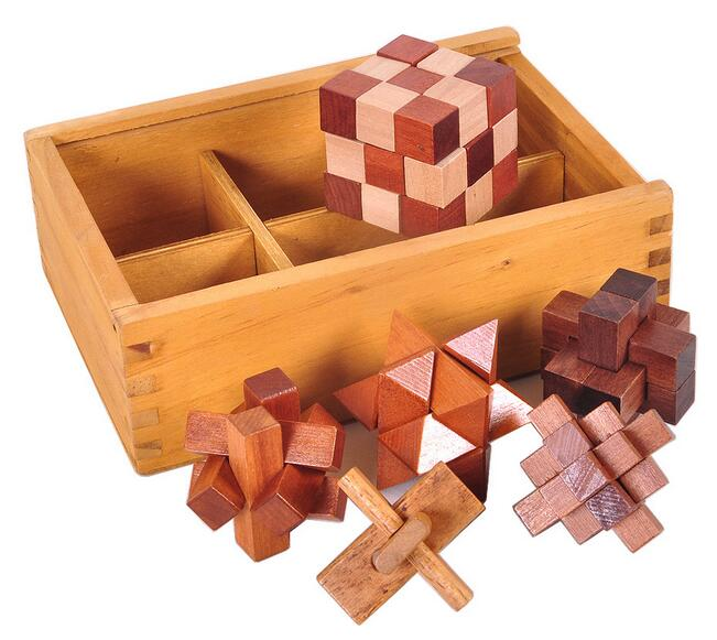 New Arrival 6PCS per Set 3D Wooden Puzzles Game Packed in Wood Box Christmas Gift for Adults Children