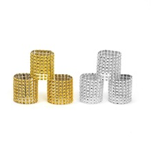 Gold Silver Napkin Ring Chairs Buckles Wedding Event Decoration Crafts Rhinestone Bows Holder Handmade Party Supplies 100pcs/lot